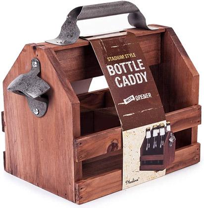 Wooden Bottle Caddy with Bottle Opener valued at £19.99
